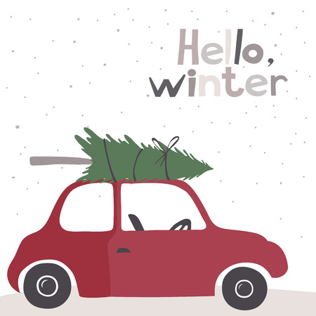 Winter vector card with a little red vintage car carrying a Christmas tree on top. Snow background. Stock Illustratie