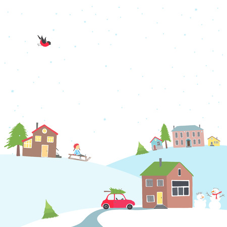 Vector greeting card with a view of the snow-covered village. There are small houses, winter activities and preparations for Christmas. Çizim