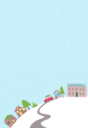 Vector card with view on a village on the hill in winter time. Illustration