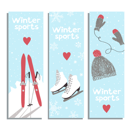 winter sports: Vector banners with for winter sports lovers.