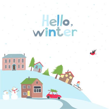 arbol de la vida: Tarjeta del vector con vista sobre un pueblo en la colina en el invierno.