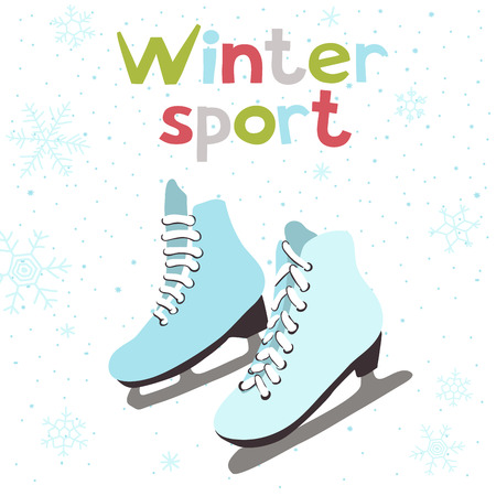 hockey rink: Winter vector card with ice skates. Winter sport.
