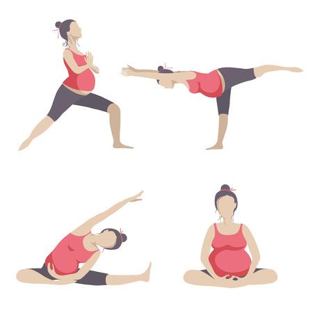 mujeres embarazadas: Yoga para mujeres embarazadas. Vector conjunto de objetos aislados sobre fondo blanco. Vectores
