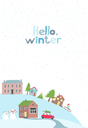 snow drifts: Vector card with view on a village on the hill in winter time. Illustration