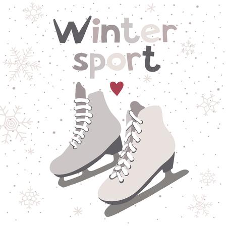 patinaje sobre hielo: Vector de la tarjeta del invierno con los patines de hielo. Deporte de invierno.