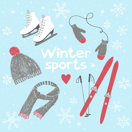 sport invernali: Vector illustration about winter sports and activities Vettoriali