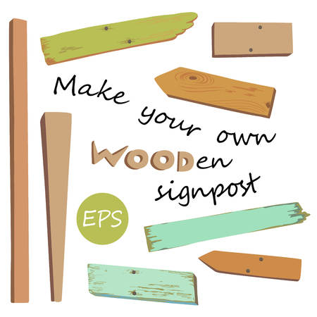 a sign: Collection of various empty wooden sign with pins on white background. Make your own wooden singpost. Vector illustration.