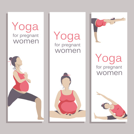 pregnancy exercise: Yoga for pregnant women. Vector set object isolated on white background.