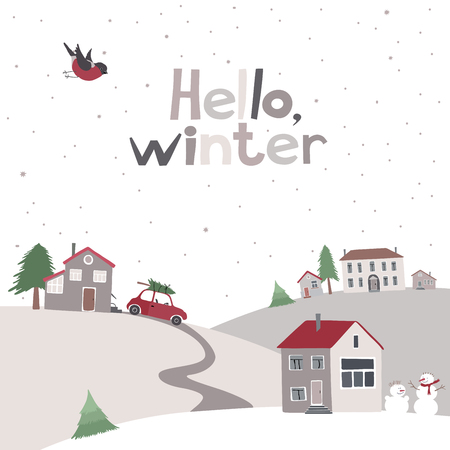 winter car: Vector card with view on a village on the hill in winter time. Illustration