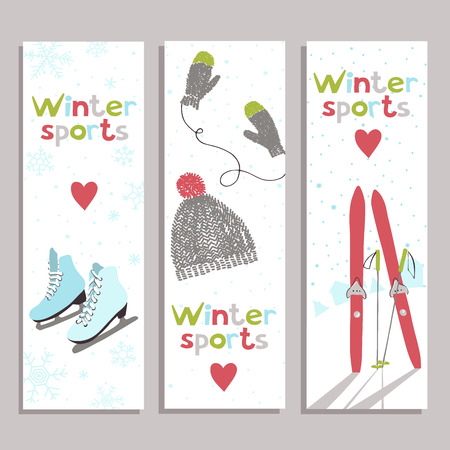 fun: Vector banners with for winter sports lovers.