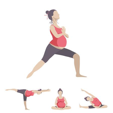 妊娠中の女性のためのヨガ。ベクトルは、白い背景で隔離オブジェクトを設定します。