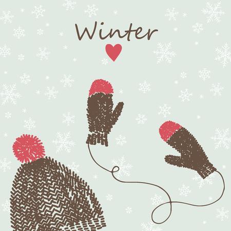 sombrero: Tarjeta del invierno del vector con el casquillo y manoplas de punto.