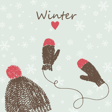 red hat: Winter vector card with knitted cap and mittens.