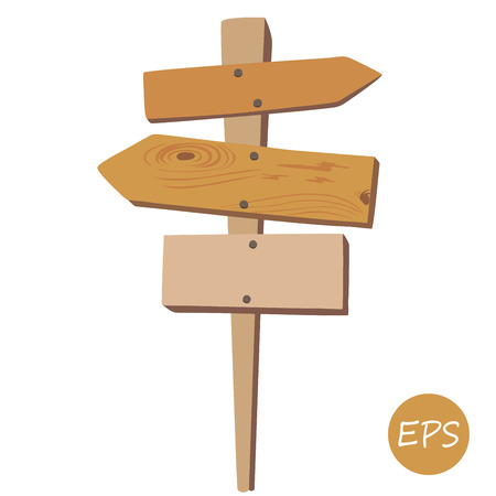 古い木製の道標のベクター イラストです。  イラスト・ベクター素材