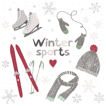 winter sports: Vector illustration about winter sports and activities Illustration
