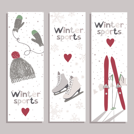 ice skates: Vector banners with for winter sports lovers.