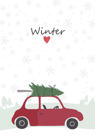 winter car: Christmas illustration of retro red car with tree on the top. Template for Cards, Tags, Invitations.
