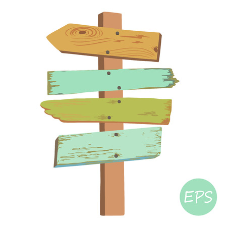 pointer: Vector illustration of  the Old wooden signpost.