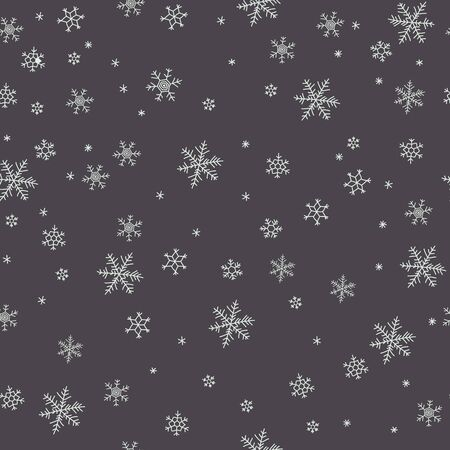 winter vector: Winter vector pattern with different tipe of snowflakes on grey background Illustration
