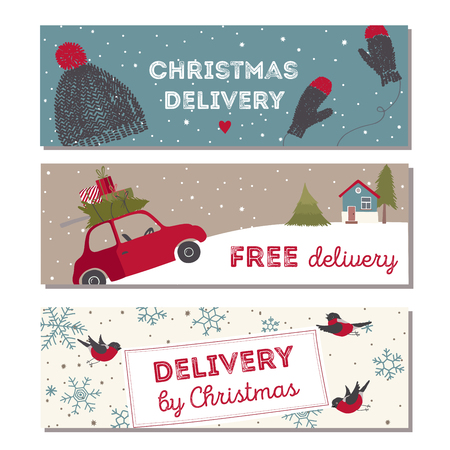 Spesial christmas delivery vector Illustration. Small red car with gifts and christmas tree on the top. Stock Illustratie