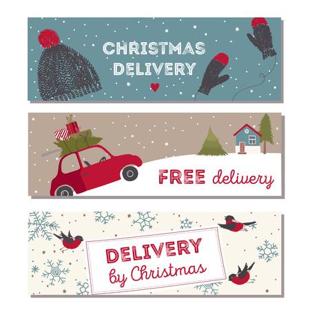 Spesial Weihnachten Lieferung Vektor Illustration. Kleine rote Auto mit Geschenken und Weihnachtsbaum auf der Oberseite. Standard-Bild - 48644377