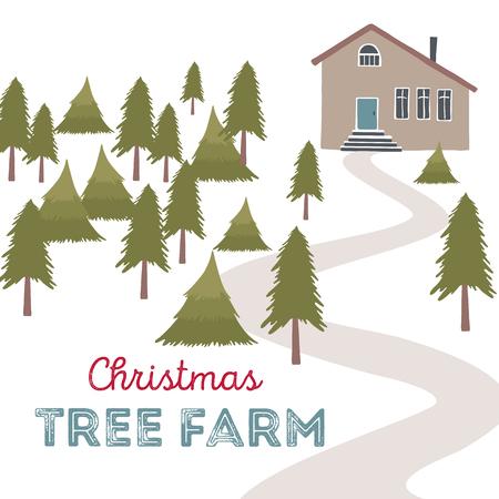 xmax: Christmas tree farm vector illustration. Christmas Trees for sale Illustration