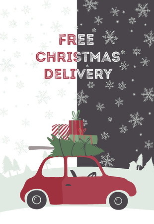 tree service business: Spesial christmas delivery vector Illustration. Small red car with gifts and christmas tree on the top. Illustration
