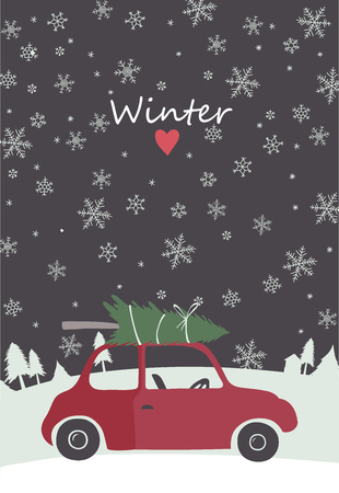 to present: Christmas illustration of retro red car with tree on the top. Template for Cards, Tags, Invitations.