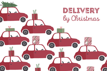 Spesial christmas delivery vector Illustration. Small red car with gifts and christmas tree on the top.  イラスト・ベクター素材
