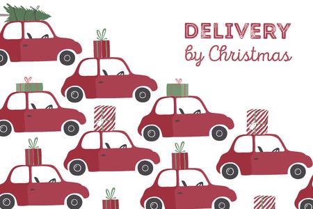 Spesial 크리스마스 배달 벡터 일러스트 레이 션입니다. 상단에 선물과 크리스마스 트리 작은 빨간 차.