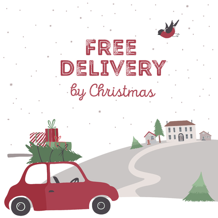 Spesial christmas delivery vector Illustration. Small red car with gifts and christmas tree on the top. Ilustração