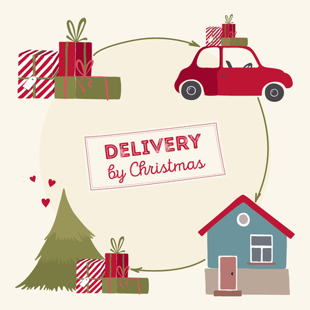 home delivery: Special christmas delivery vector Illustration. Home delivery by christmas.