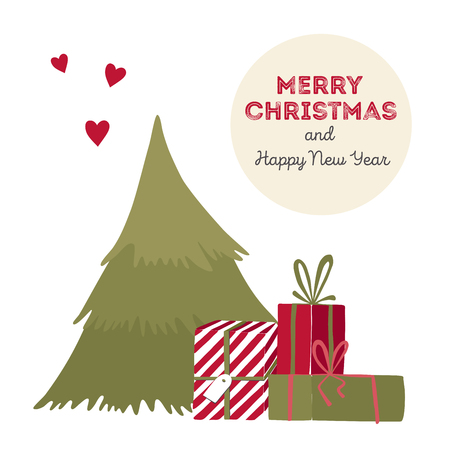 heart under: Vector illustration of a Christmas tree with gifts.