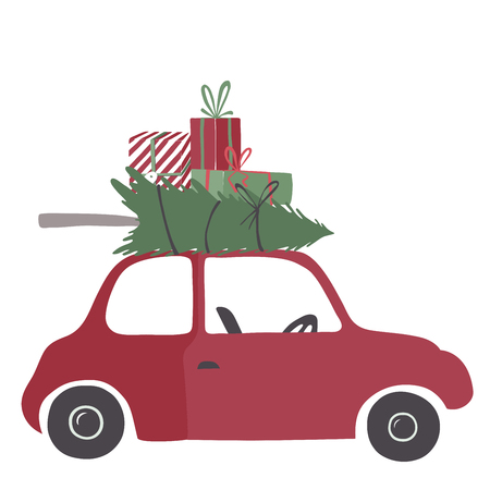 transport truck: Spesial christmas delivery vector Illustration. Small red car with gifts and christmas tree on the top. Illustration