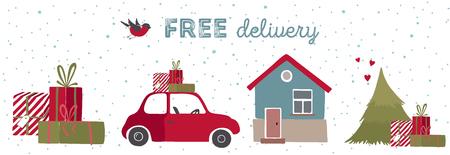 Spesial Natale consegna illustrazione vettoriale. consegna a domicilio entro Natale. Archivio Fotografico - 49210320