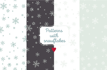 winter colors: Winter vector patterns with snowflakes in different colors.