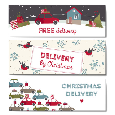 Special christmas delivery Illustration. Horizontal banners set.  イラスト・ベクター素材