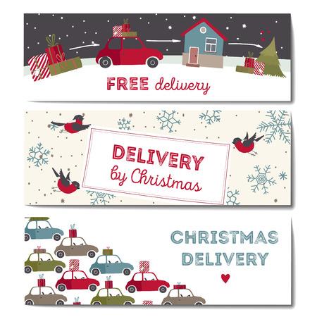 Special Christmas dostawy ilustracji. zestaw transparenty poziome.