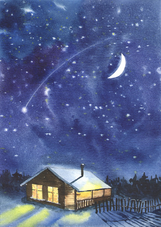 meteor shower: Watercolor image with starry sky background and a cabin in the woods. Paper texture.