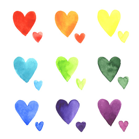 romantic: Set of watercolor hearts. Colors of rainbow. illustration.