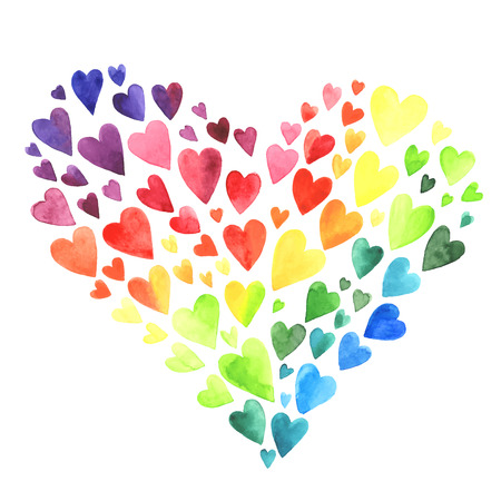 Set of watercolor hearts. Colors of rainbow. illustration.