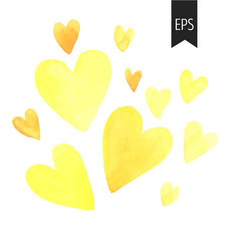 Conjunto de corazones amarillos acuarela. corazones aislados sobre fondo blanco. Elementos para la boda o la decoración de San Valentín.