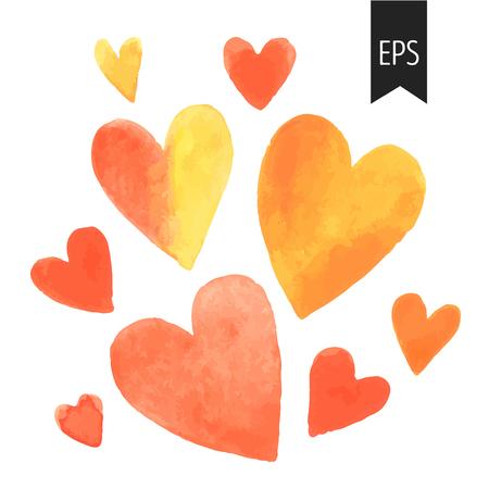 Set van oranje aquarel harten. harten geïsoleerd op een witte achtergrond. Elementen voor bruiloft of Valentines decoratie. Stock Illustratie