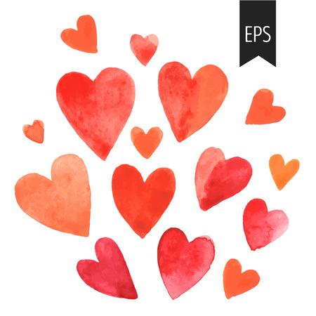 Set van rode aquarel harten. harten geïsoleerd op een witte achtergrond. Elementen voor bruiloft of Valentines decoratie. Stock Illustratie