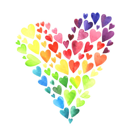 カラフルな水彩心のセットです。白い背景で隔離の心。結婚式やバレンタインの装飾の要素。
