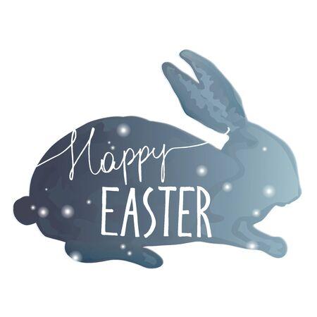Felices Pascuas. dibujado mano única frase en un backgraund conejo. la imitación de la acuarela. Ideal para tarjetas de felicitación