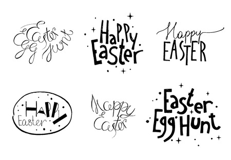 hunt: Happy Easter.  Set of unique  design elements isolated on white background. Great for congratulation cards