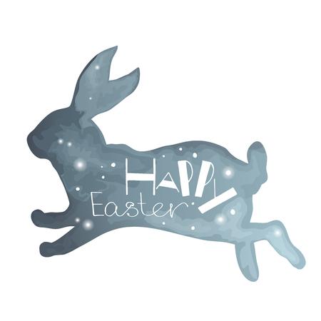 silhouette lapin: Joyeuses P�ques. main unique tir� une phrase dans un backgraund de lapin. imitation Aquarelle. Id�al pour les cartes de f�licitations, des banni�res et des d�pliants.