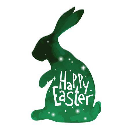Felices Pascuas. dibujado mano única frase en un backgraund conejo. la imitación de la acuarela. Ideal para tarjetas de felicitación, carteles y folletos.