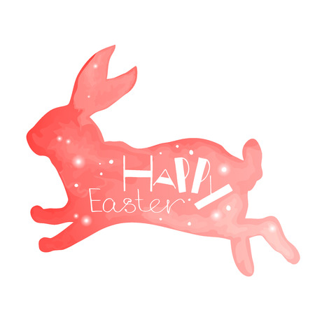silhouette lapin: Happy Easter. Unique hand drawn phrase in a rabbit backgraund. Watercolor imitation. Great for congratulation cards, banners and flyers.